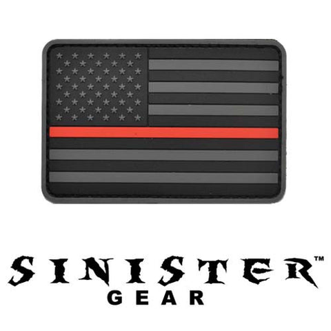 "Sinister Gear ""Thin Blue Line"" PVC Patch - Red"