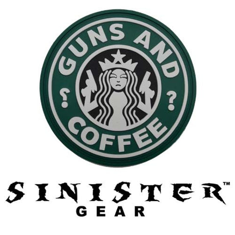 "Sinister Gear ""Guns and Coffee (Black)"" PVC Patch - Color"