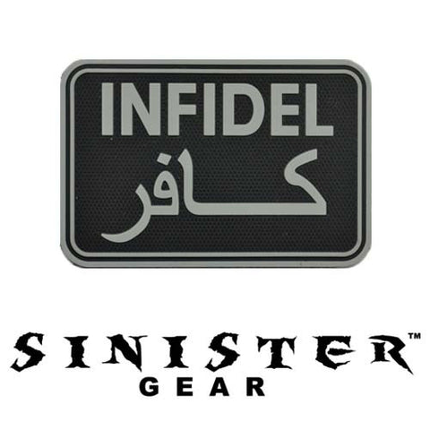 "Sinister Gear ""Infidel"" PVC Patch - Black/Grey"