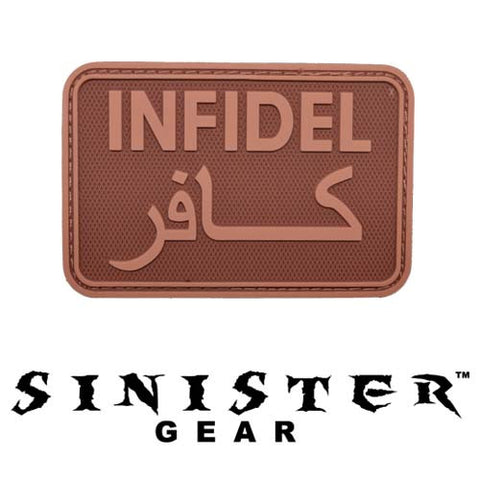 "Sinister Gear ""Infidel"" PVC Patch - Brown"