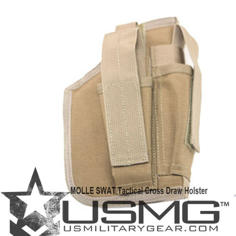 TAN MOLLE Cross Draw Holster Left Hand Small