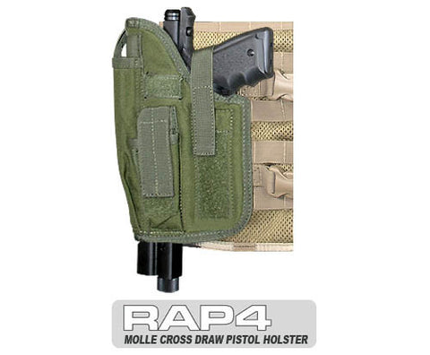 OLIVE DRAB MOLLE  Cross Draw Holster Left Hand Large