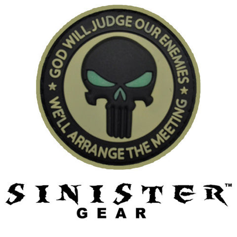 "Sinister Gear ""Punisher Meeting"" PVC Patch - Black/Tan"