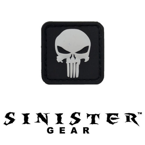 "Sinister Gear ""Punisher Pendant"" PVC Patch - White"