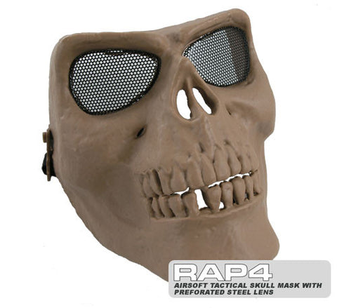 Tactical Skull Mask with Perforated Steel Lens (Tan)