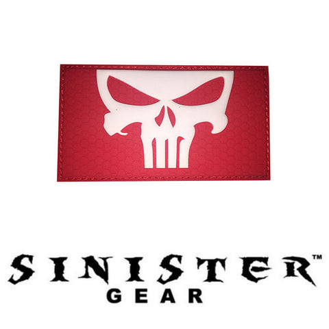 "Sinister Gear ""Red Punisher skull"" PVC Patch"