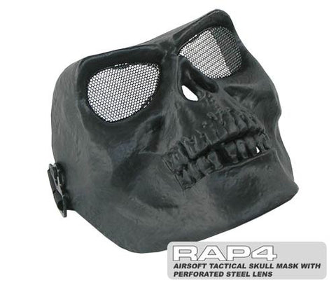 Tactical Skull Mask with Perforated Steel Lens (Black)