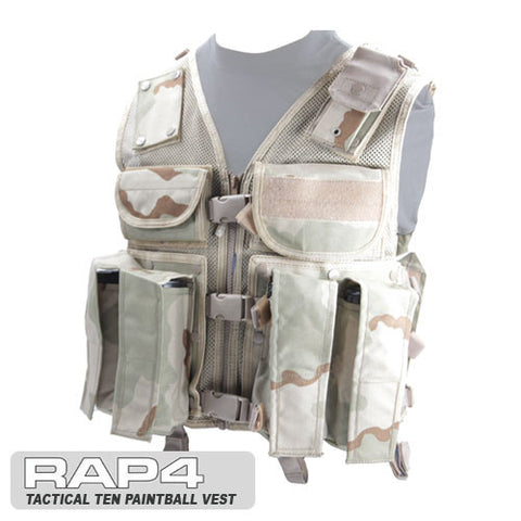 Tactical Ten Paintball Vest (Regular Size) Desert Camo
