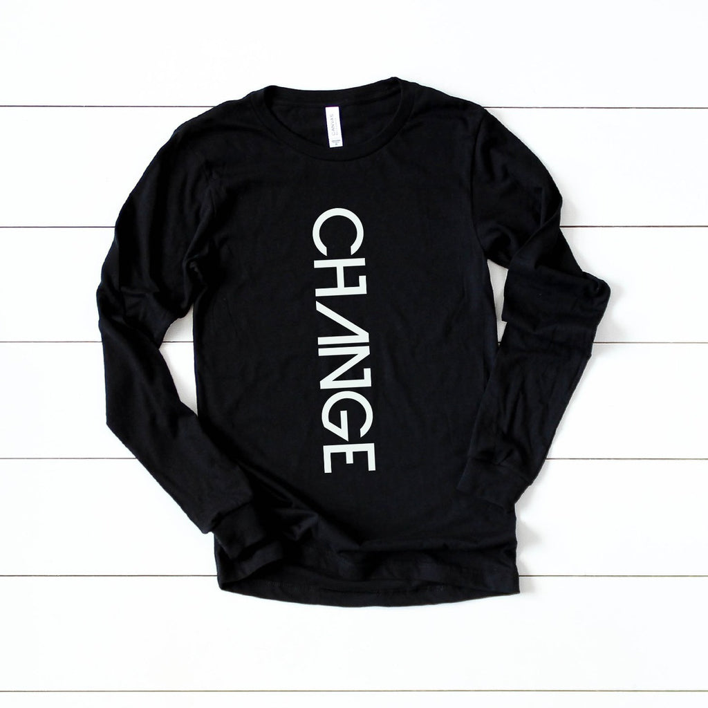 "Black ""Change"" Long Sleeve-Shirt"
