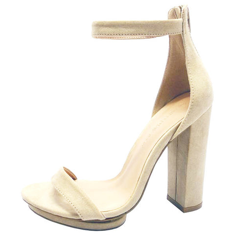 Nude Ankle Wrap Heel