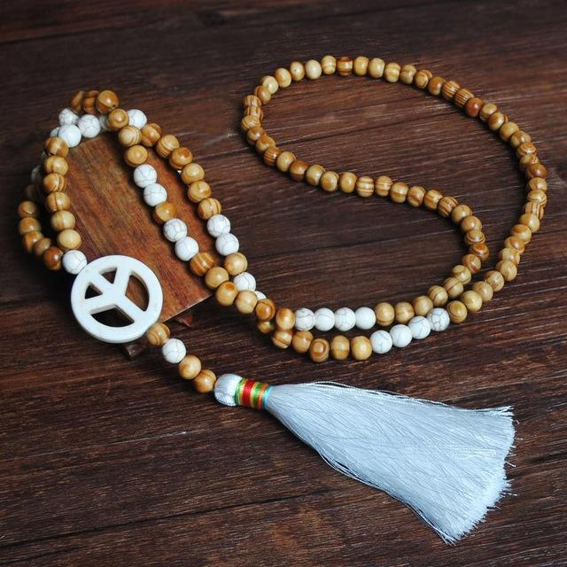Astrid Wood Beaded Necklace Peace