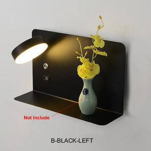 Blentis Bedside LED Shelf Black - Left