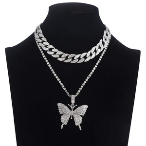 Blingin' Butterfly Necklace Silver