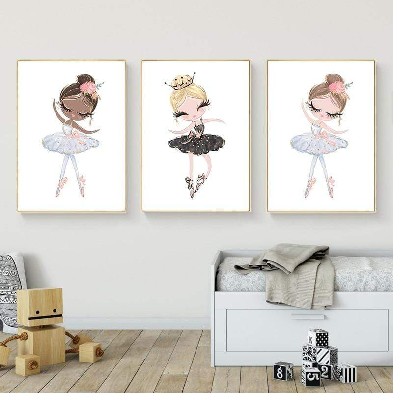 Cute Cartoon Ballet Dancing Girl Picture Sweet Home Decor Nordic Canvas Painting Wall Art Poster Pink Print for Girl's Bedroom|Painting & Calligraphy