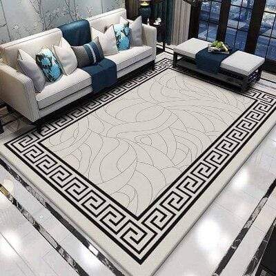 Else Gray Carpet Floor Black Ethnic Anti Slip Design 3d Print Absorbent Microfiber Living Room Decorative Washable Area Rug Mat|Carpet