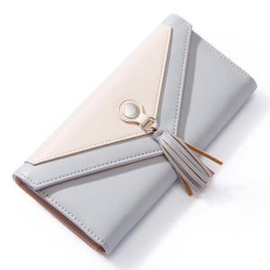 Geometric Envelope Tasseled Wallet Gray