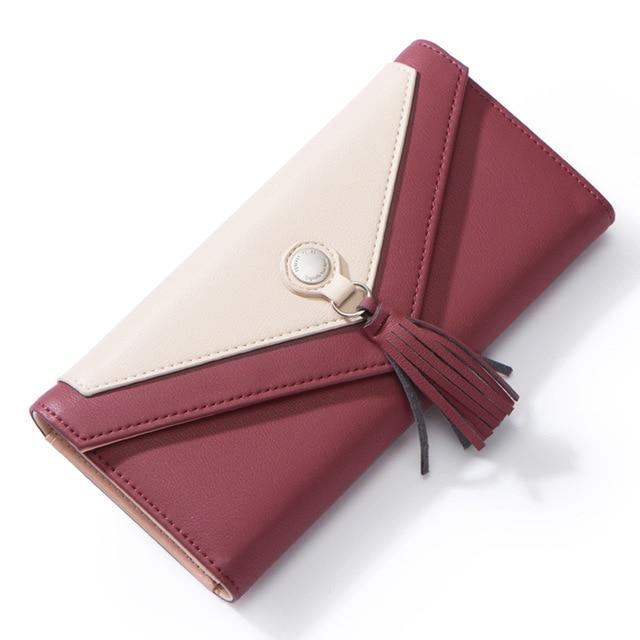 Geometric Envelope Tasseled Wallet Wine Red