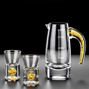 Gold Flake Drinkware 1 pot 2 glasses