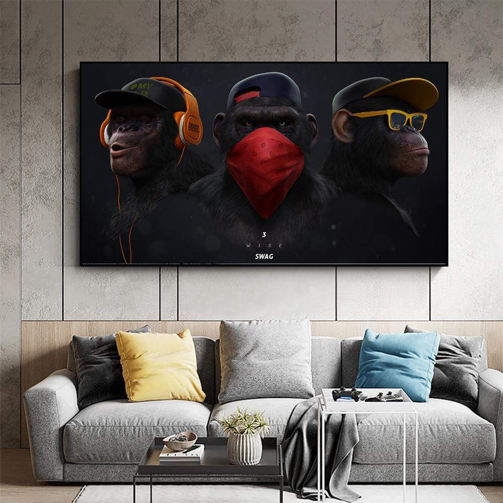 Hear No Evil, Speak No Evil, See No Evil Canvas Wall Art