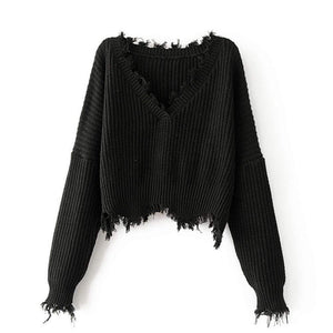 Kayla Tattered Pullover Black / One Size