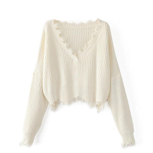 Kayla Tattered Pullover White / One Size