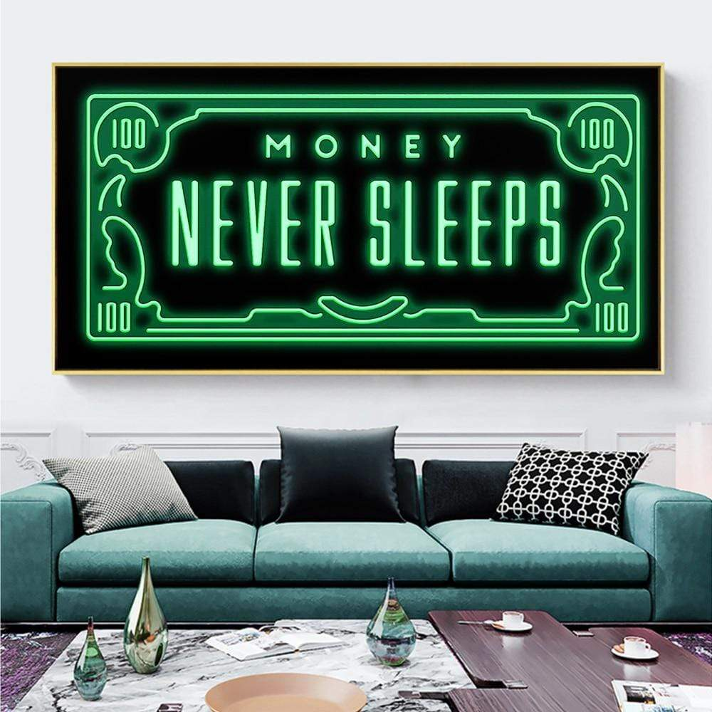 Money Never Sleeps Canvas