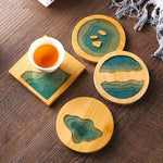 Ocean Vibes Bamboo Coasters 4 Piece Set