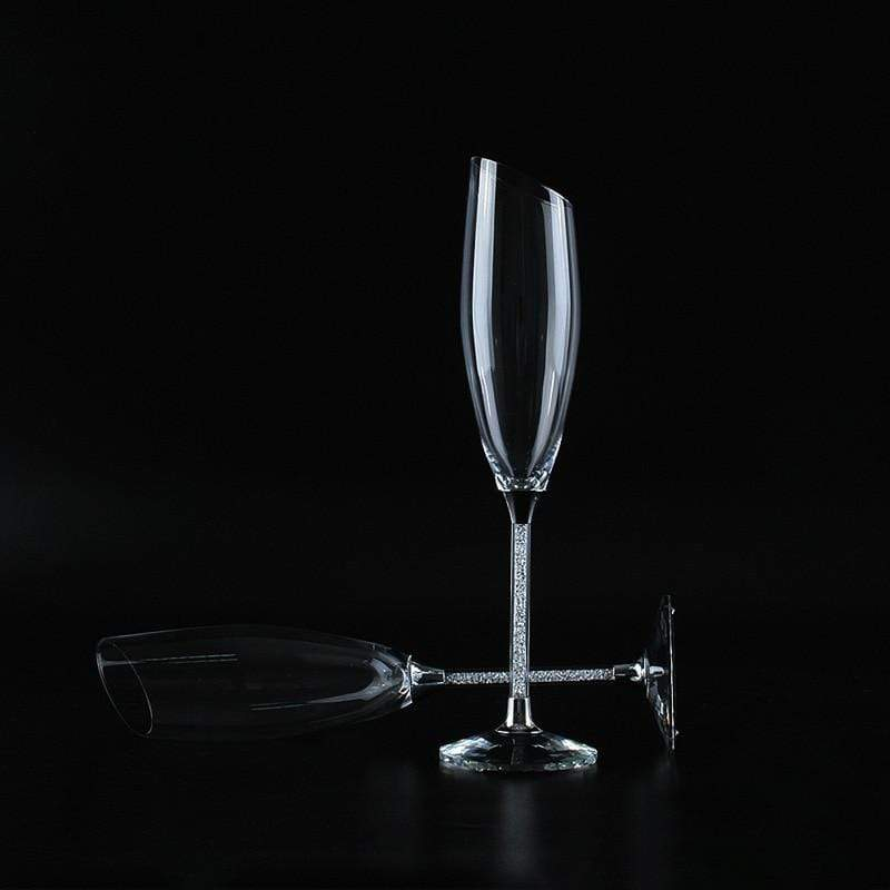 Slanting Wedding Glasses Personalize Champagne Flutes Gold Crystal Party Glass Goblet Wedding Decoration H1190|Other Glass