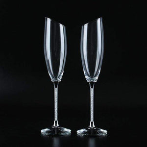 Slanting Wedding Glasses Personalize Champagne Flutes Gold Crystal Party Glass Goblet Wedding Decoration H1190|Other Glass Slant White