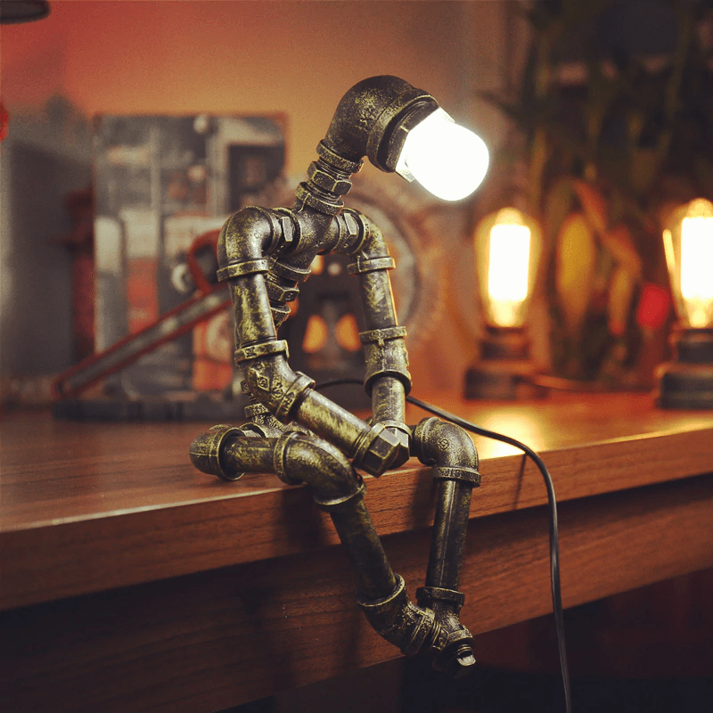 Sparks Vintage Robot Lamp Seated