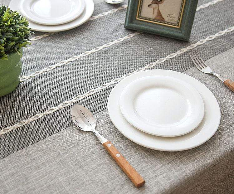 Tassled Linen Tablecloth