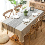 "Tassled Linen Tablecloth Grey / 35""x35"""