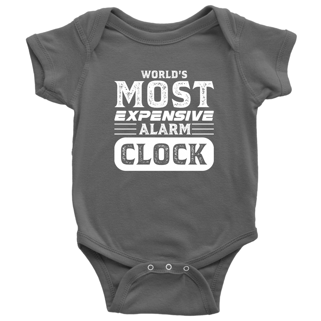 World's Most Expensive Alarm Clock - Onesie Baby Bodysuit / Asphalt / NB