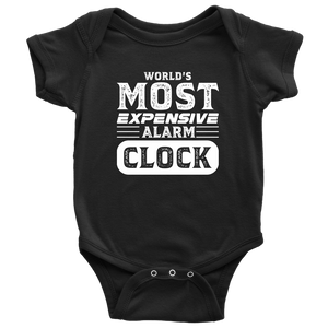 World's Most Expensive Alarm Clock - Onesie Baby Bodysuit / Black / NB