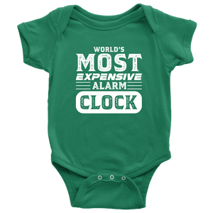 World's Most Expensive Alarm Clock - Onesie Baby Bodysuit / Kelly / NB