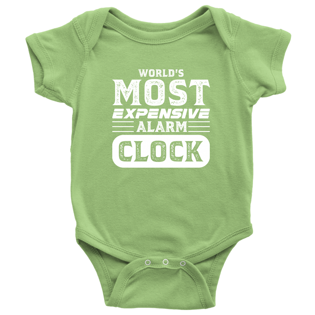World's Most Expensive Alarm Clock - Onesie Baby Bodysuit / Keylime / NB