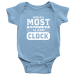World's Most Expensive Alarm Clock - Onesie Baby Bodysuit / Light Blue / NB