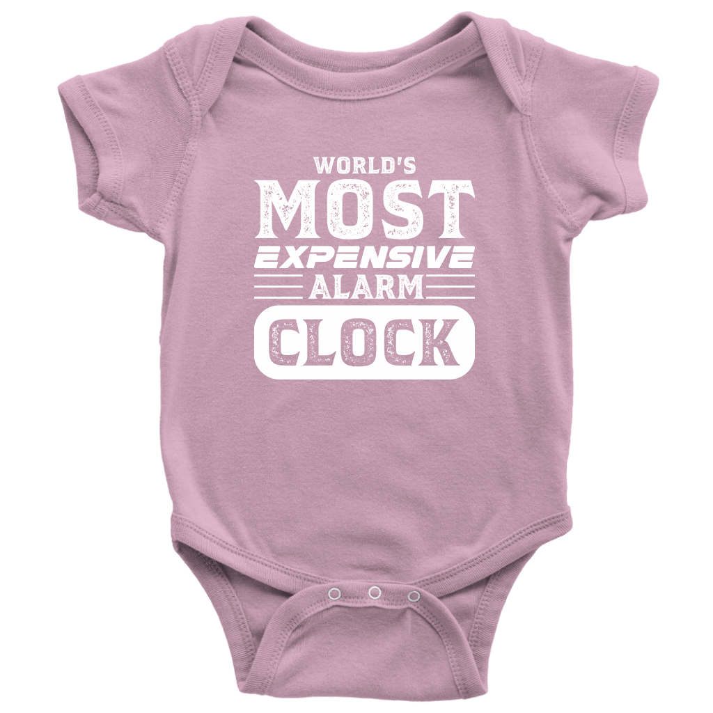 World's Most Expensive Alarm Clock - Onesie Baby Bodysuit / Pink / NB