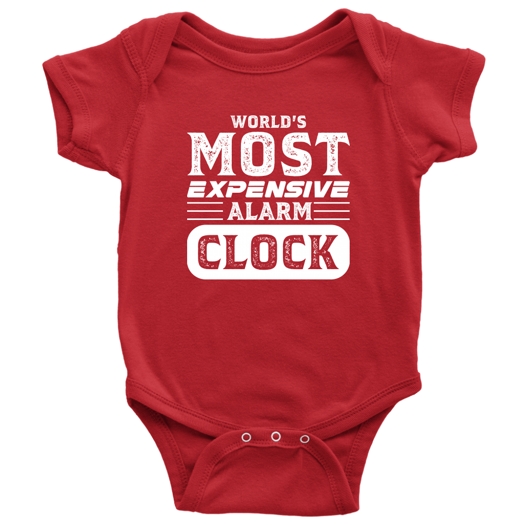 World's Most Expensive Alarm Clock - Onesie Baby Bodysuit / Red / NB