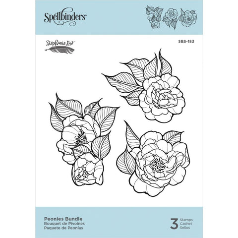 "Spellbinders Cling Stamps By Stephanie Low - Peonies Bundle 2.05"" To 2.7"""