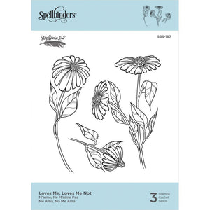 "Spellbinders Cling Stamps By Stephanie Low -  Loves Me, Loves Me Not 3.95""X2.95"""