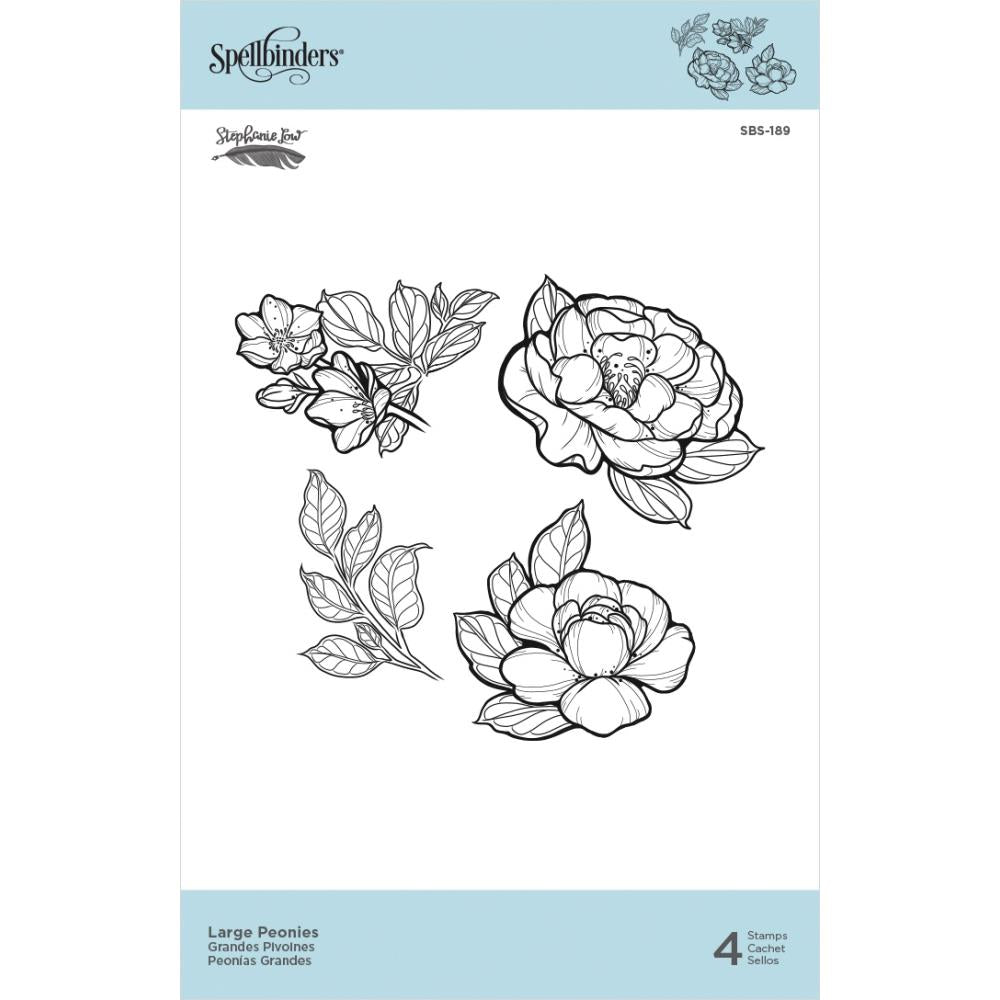 "Spellbinders Cling Stamps By Stephanie Low - Large Peonies 1.35"" To 2.45"""