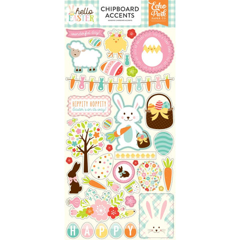 "Hello Easter Chipboard 6""X2"
