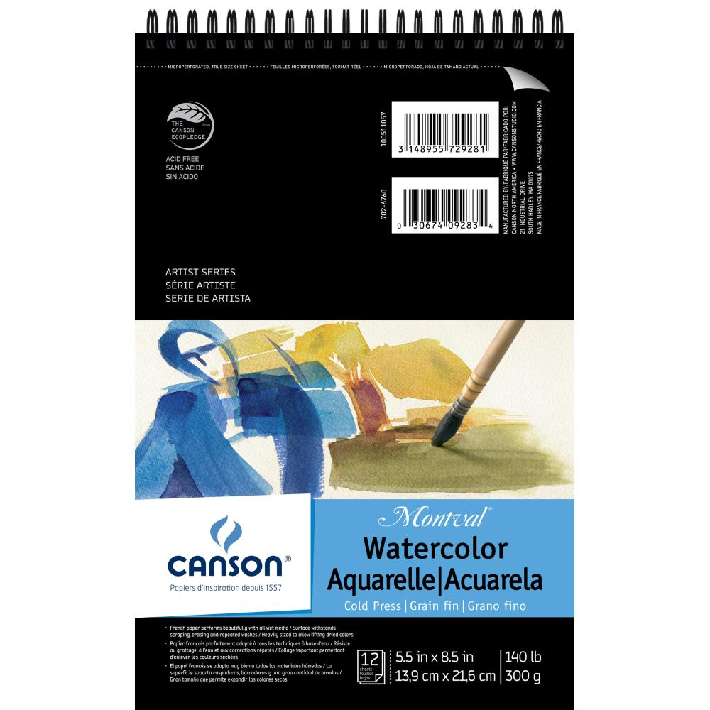 "Canson Montval Spiral Watercolor Pad 5.5""X8.5"" 12 Sheets"