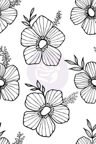 Prima - Christine Adolph Cling Stamp: 12 Tossed Floral