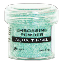 Ranger Embossing Powder- AQUA TINSEL