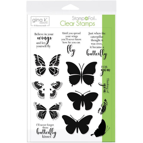 Therm O Web Gina K Designs BUTTERFLY KISSES Clear Stamp Set