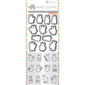 Hampton Art MINI BUNNY AGENDA Mama Elephant Clear Stamp and Die Set sc0903