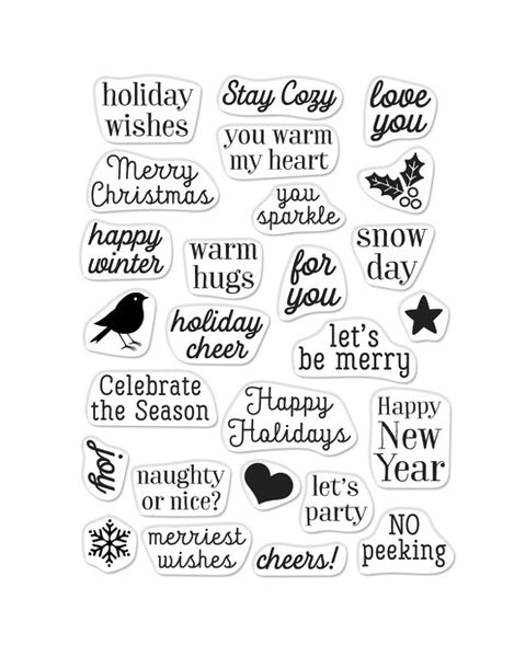 Hero Arts Clear Stamps GREETINGS CHRISTMAS MESSAGES CM379
