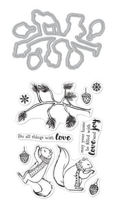 Hero Arts Stamp and Cuts CHRISTMAS SQUIRRELS Set DC267